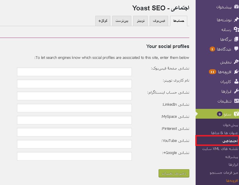 تنظیمات شبکه های اجتماعی درYoast SEO