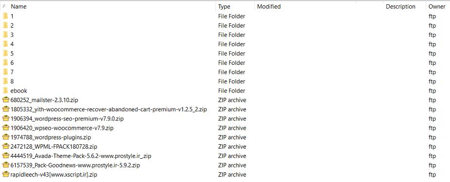 فایلهای دوره در سرور