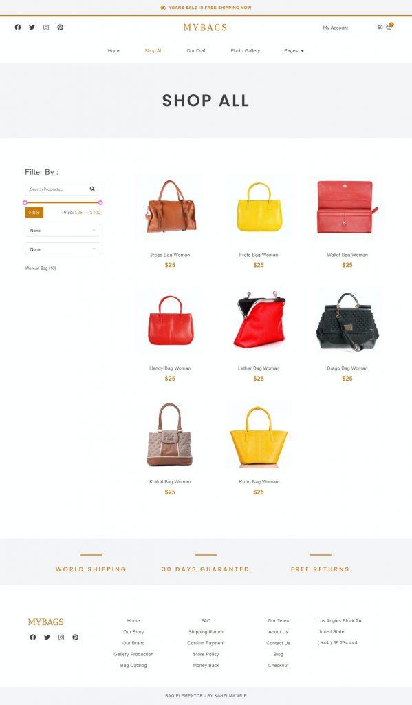 قالب فروشگاهی المنتوری mybags-shop